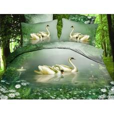 Комплект постельного белья Swans Lake сатин 3D эффект
