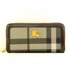 """Брендовый кошелек  """"Burberry"""" коричневый в серую полоску кожзам размер 200x90"""