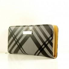 """Брендовый кошелек  """"Burberry"""" серый в черную полоску кожзам размер 200x90"""