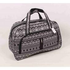 Дорожная сумка черная с узором текстиль размер 550x350x190