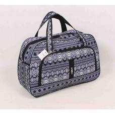 Дорожная сумка cиняя с узором текстиль размер 550x350x190