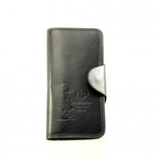 Мужской кошелек Bristol черный с серебряным зажимом кожзам