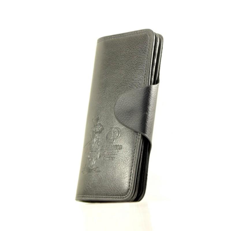 0b29300fd81f Мужской кошелек Bristol черный с серебряным зажимом кожзам