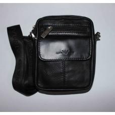 Мужская барсетка Giorgio Armani черная натуральная кожа