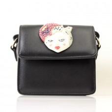 Женская сумочка-клатч черная кожзам  размер 160x80x170
