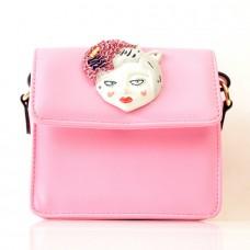 Женская сумочка-клатч розовая кожзам размер 160x80x170