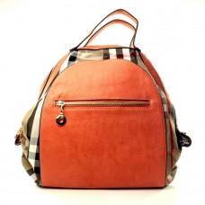 Женская сумка рюкзак Галатея оранжевая кожзам