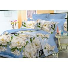 Комплект постельного белья Белые цветы голубого цвета микросатин